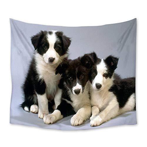 Bonito tapiz de perro blanco y negro para colgar en la pared, manta de manta para la playa, tienda de campaña, colchón de viaje, tapiz bohemio para dormir, 150x100cm/60*40pulgadas