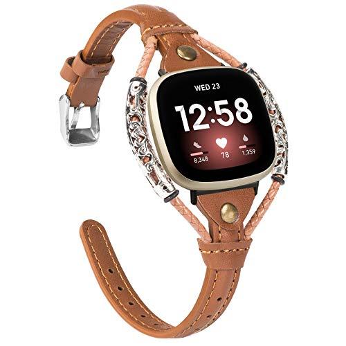 Glebo Compatible con pulsera Versa 3 / Sense para mujer, vintage, de piel, accesorio compatible para reloj inteligente Versa 3/Sense, color marrón