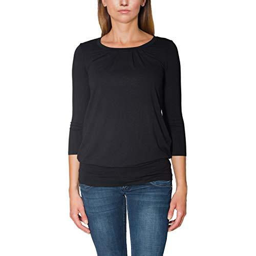 Alkato Damen Viskose Shirt 3/4 Arm Longshirt Top, Farbe: Schwarz, Größe: XL