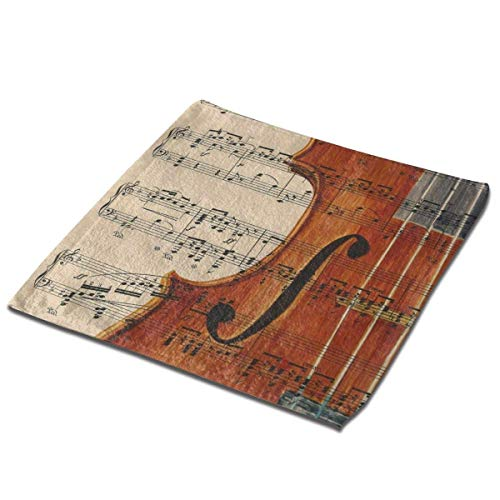 Yuanmeiju Toalla Cuadrada Violin Painting On Vintage Sheet Music Square Washcloths Face Wash Cloth Fingertip Towel Rags Soft Merch Gift and Absorbent 13 x 13 Inches