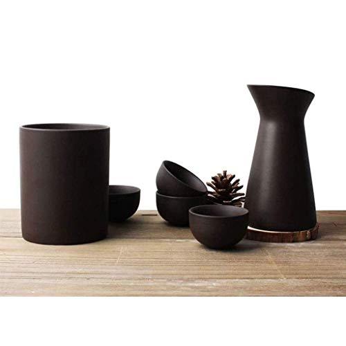 Sake-Set aus Keramik, 6-teiliges lilafarbenes Weinglas und lila Sand-Isolierkanne (kalt / warm / Shochu / Tee / Wasser) sind ein gutes Geschenk für Familie und Freunde 721