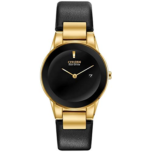 Reloj de pulsera Citizen Eco-Drive Axiom dorado con correa de piel negra GA1052-04E