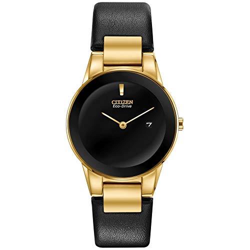 Reloj Citizen Eco-Drive Axiom para mujer, color dorado, correa de piel negra, GA1052-04E
