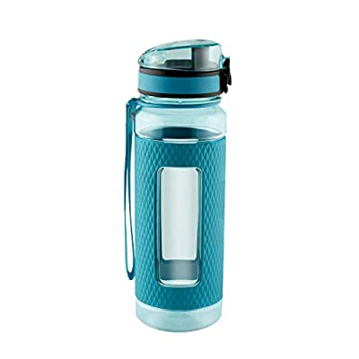 SWIG SAVVY Sports Water Bottle with Silicone Sleeve, Wide Mouth with Easy Flip Top Cap, Reusable Drinking Container with Leak Proof Lid, Great for Running, Gym, Swimming - Plastic - 18oz