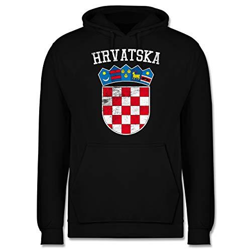 Shirtracer Fußball-Europameisterschaft 2021 - Kroatien Wappen WM - XS - Schwarz - Geschenk - JH001 - Herren Hoodie und Kapuzenpullover für Männer