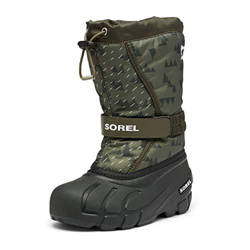 Sorel Youth Girl's Flurry Print Boot - Heavy Snow - Waterproof - Slate Green - Size 5