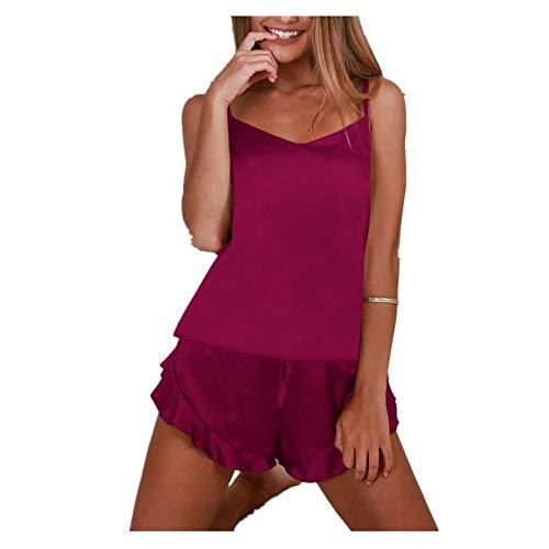 iHENGH Damen Sexy Dessous Nachtwäsche Satin Seide Babydoll Lace Up Frauen Nachtwäsche Pyjamas Set