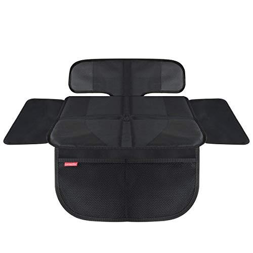 HerzensKind Premium Kindersitzunterlage , der Beste Schutz für Ihre Autositze, universeller Autositzschoner für Textil- und Ledersitze, ISOfix geeigneter Sitzschoner, passt unter jeden Kindersitz