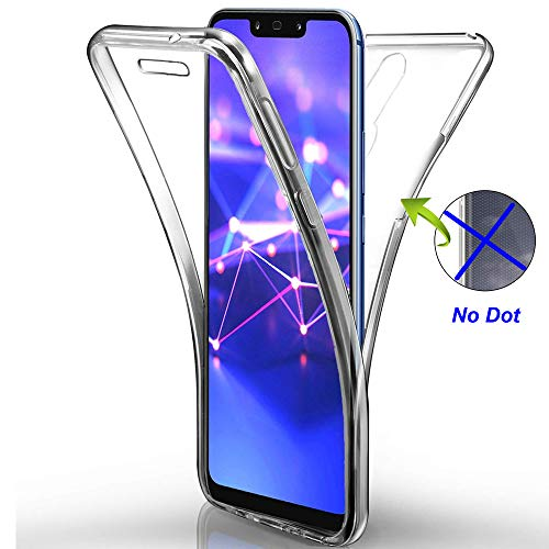Nadoli 360 Degres Full Body Coque Case Cover Clear Transparent Ultra Slim Silicone Gel Case Intégral Protection Anti-Rayures Coque Housse pour Huawei Mate 20 Lite
