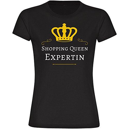Damen T-Shirt Shopping Queen Expertin - schwarz - Größe S bis 2XL, Größe:XL