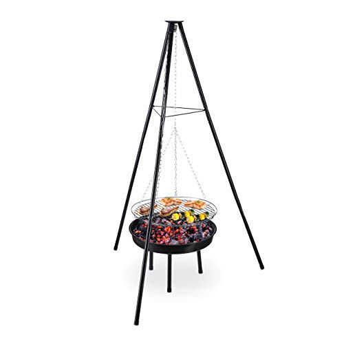 Relaxdays Schwenkgrill Swivel Grill with Fire Bowl, Steel, 49 cm Cooking Grate, Height-Adjustable, Tripod H x D: 148 x 105 cm, Black