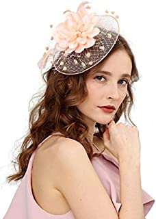 Fascinators Hats for Womens 50s Headwear with Veil Flower Cocktail Wedding Tea Party Church Derby Hat