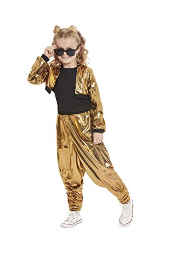 Girls MC Hammer Time Gold Costume for 90s Dress Up.