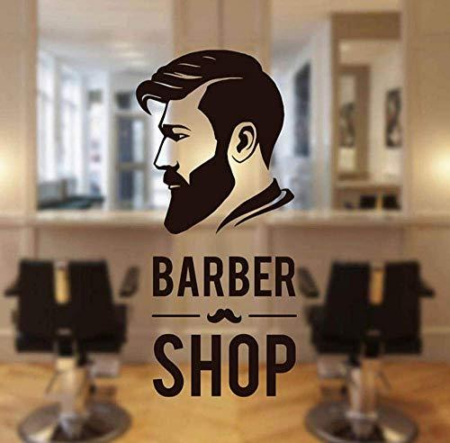 Barbershop Man Face Wandtattoos Zeichen Logo Barber Shop Fensteraufkleber Vinyl Dekor Barber'S Moustache Wandbild Tapete 26X57Cm
