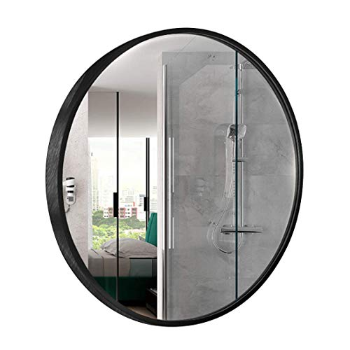 AJH Miroir Mural Rond Noir de Salle de Bains, Grands miroirs de courtoisie encadrés d'alliage d'aluminium, Miroir de Rasage, Miroir GR