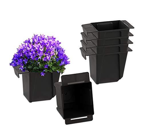 BigDean 6X Pflanzkasten Palette Anthrazit Mini Kunststoff Paletten Blumenkasten Pflanzkübel Palettenkasten Palettenpflanzkasten