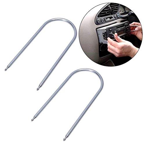 ZHUOTOP Herramienta tipo llave para quitar / extraer / desbloquear sistemas estereofónicos de radio/reproductor de CD para automóviles, color plateado.