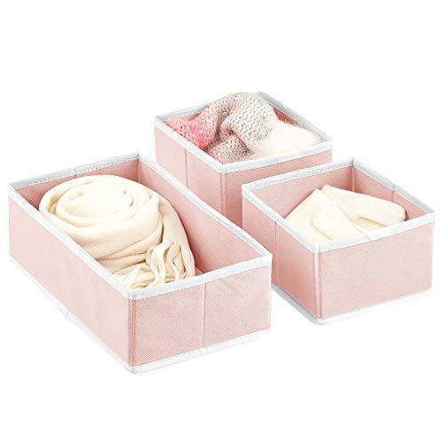 mDesign Juego de 3 Cajas para Guardar Ropa – Organizador de Armario en 2 tamaños para Dormitorio y Cuarto Infantil – Cajas organizadoras de Fibra sintética con diseño Atractivo – Rosa y Blanco