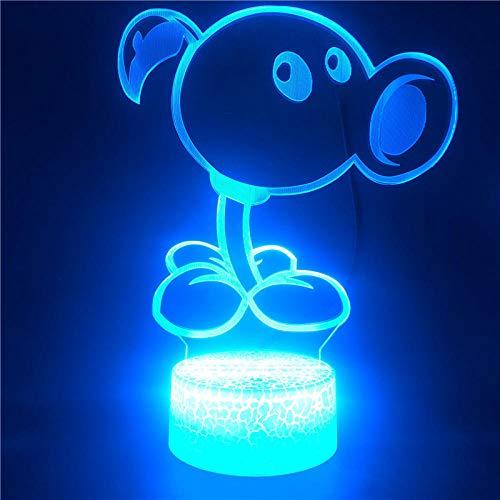 Lámpara De Ilusión 3D Luz De Noche Led Control Plants Vs Zombies Usb Decoración Kids Room Decoration Give Friends Gifts Regalos De Vacaciones De Cumpleaños Para Niños
