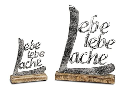 Schriftzug Lache Liebe Lebe aus Aluminium / Mango Holz Deko Aufsteller Tischdeko Wohndekoration (18cm)