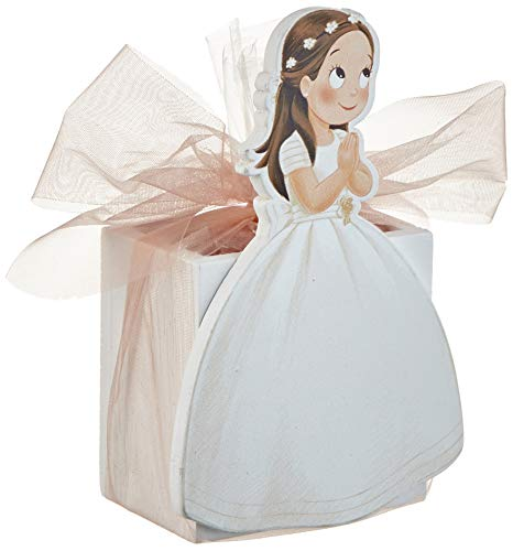 Mopec WD93 houten pennenhouder voor meisjes, communie, lange jurk, 9 snoepgoed