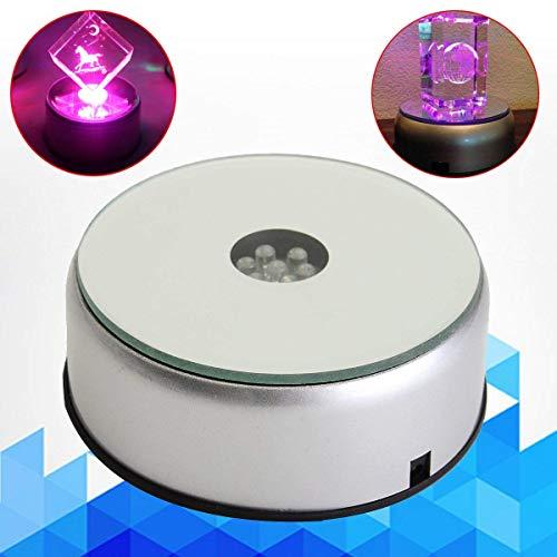 LED Display Base, 7 Farbwechselnde Lichter Elektrisch Drehteller für Kristalle Glaskunst, 3d Glasfoto, Heimtextilien