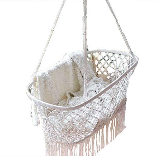 LHY Silla de Columpio Grande Tejida con Cuerda de algodón con Flecos románticos Silla Colgante de Hamaca para Interior/Exterior, Patio, Patio, jardín