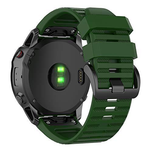 Keweni Correa para Garmin Fenix 6X Pro/Fenix 6X,Correas de Reloj de Pulsera de Repuesto QuickFit de 26 mm para Garmin Fenix 6X/6X Pro/Fenix 5X/5X Plus Smart Watch (Ejercito Verde)
