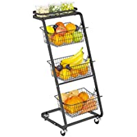 GSlife 4 Tier Wire Market Fruit Basket with Rolling Wheels