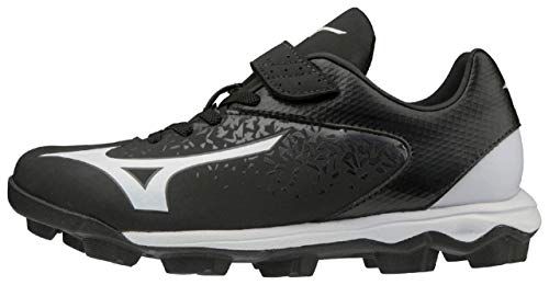 Mizuno 320592.9000.23.0350 Finch Select Nine Youth Girls Molded Softball Cleat Black-White (9000) 3 1/2 (0350)