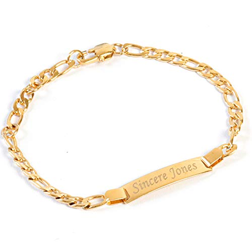 Tina&Co Personalized 18kt Gold Plated ID Bracelet for Kids Custom Made with Name Bracelet