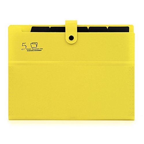 BTSKY 5-Pocket Expanding File with Button Closure, A4 Size Accordion File Folder Organizer Binder Wallet for Paper Projects Cards Bills Receipts Checks Invoice Pouch School & Office Supply, D-yellow