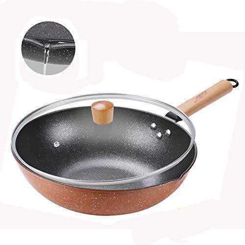 Fry Wok Flat Pans Anti-aanbaklaag Minder Oliedampen Frying Pan Fry Wok Toepassen op Inductie Cooker Gas Fornuis 32CM Gietijzeren Fry Wok