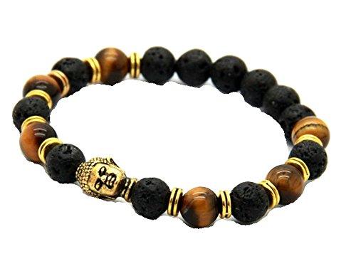 JY Jewelry Unisex Lava Stone beads Gold Buddha Black Yoga Bracelet