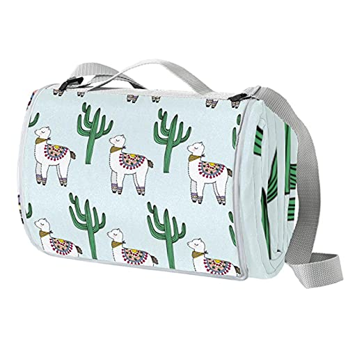 Manta de picnic portátil de 57 x 59 pulgadas impermeable picnic Mat para la playa, camping, césped, música Festival Cactus Alpaca Lama lindo