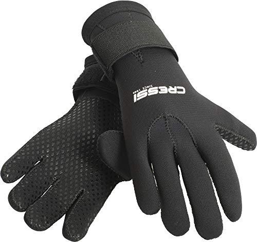 Cressi Black Neoprene Gloves Resilient 3mm - Tauchhandschuh aus Weichem 3 mm Neopren, Hohe Elastizität, Schwarz, für Erwachsene