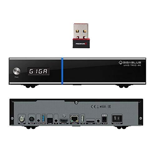 GigaBlue UHD Trio 4K DVB-S2x / DVB-C/T2 Receiver Combo SAT IP Kabelreceiver Multistream Hybrid mit PremiumX WLAN Stick