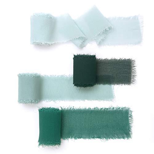 Lings moment Handmade Fringe Chiffon Silk-Like Ribbon Smooth Ribbon Ombre Colors Chart, Verona Green