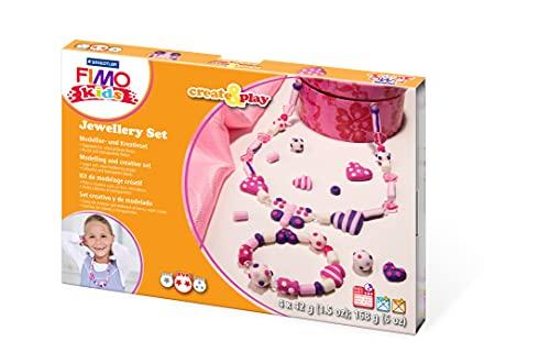 STAEDTLER 8033 01 Fimo kids create&play Set Jewellery ofenhärtend, Schmuckset mit 4 Blöcken, Anleitung, Perlen, Modellierstab und Kordel, Schwierigkeitsgrad 2
