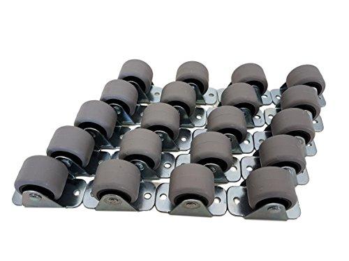 Castors - kleine Mini-Lenkrollen im Set, schwenkbar, 30-mm-Kunststoff-Gummirollen mit Metallplatte, Möbel, Gerät, und Ausrüstung, 20 Stück