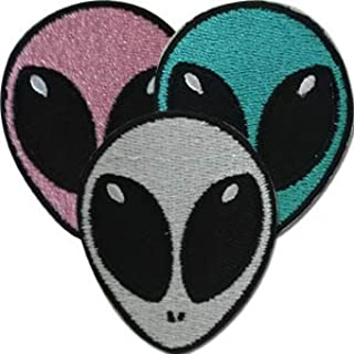 Aliens Cute Assorted 3 Pack - Sew Iron on, Embroidered Original Artwork - Patch - 2.6