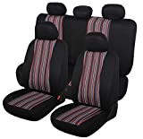 Autojoy Baja Seat Covers, 7pc Stripe Multi-Color Saddle Blanket Weave Universal Bucket Seat Cover Fit for Car,Vans,SUV(Red & Black)