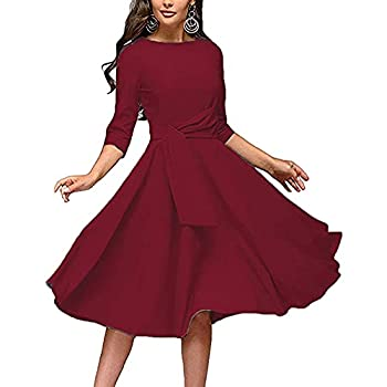 OutTop Vintage A-Line Dress for Women Half Sleeve O-Neck Elegant Solid Dress Casual Party Cocktail Swing Dresses with Belt  Wine M