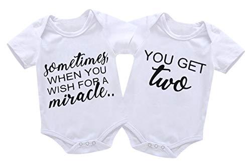 Mini honey 2Pcs Infant Twins Baby Boys Girls Short Sleeve Letter Print Romper Bodysuit Summer Outfit Clothes White, 0-6 Months