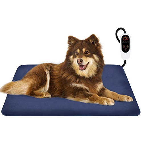 FOCUSPET Pet Heating Pad, Electric Dog Heating Pad Indoor 29.5' x 16' Upgraded 6 Levels Temperature Adjustable Warming Bed 12 Timers Levels Auto Power Off with Waterproof Mat Removable Fleece Cover