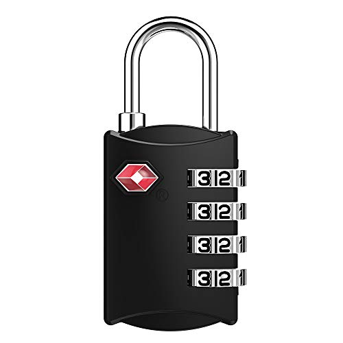 ZHEGE TSAロック 4桁ダイヤル式 南京錠 暗証番号 海外旅行用鍵 ジムロッカー荷物バッグ用ロック 日本語説明書 (ブラック)