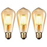 Bombilla LED E27, Edison Vintage Bombilla Cálido 6W ST64 2600-2700K 400LM Bombilla Retro Decorativa Ambar Cálido Blanco Bombillas Incandescentes - 3 Unidades