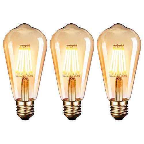 Edison Glühbirne, Edison Vintage Lampe E27 (6W/220V) 2600-2700K Retro Glühbirne Vintage Antike Glühbirne,Amber Warm, 3 Stück [Energieklasse A]
