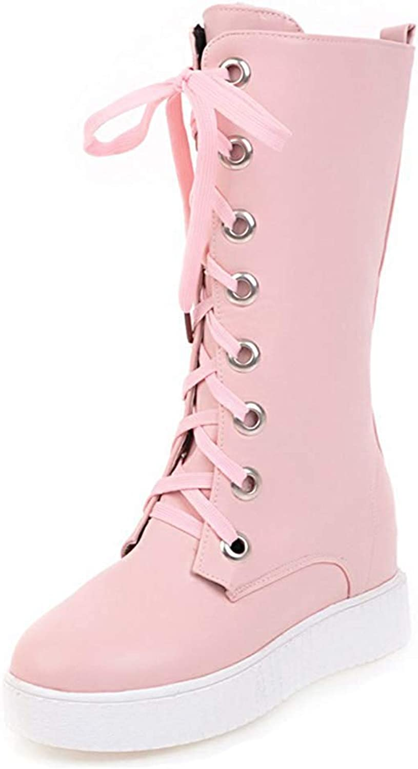 Unm Women's Comfort Thick Sole Round Toe Lace Up Elevator Low Heel Platform Mid Calf Riding Boots