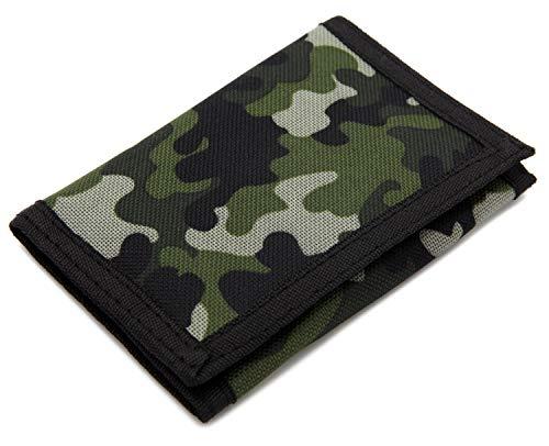 Schmales Portmonee / Geldbörse für Kinder, RFID-Schutz, dreifach gefaltet, Camouflage, Leinen, Outdoor / Sport camouflage S